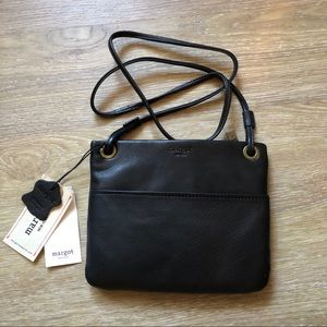 Margot Leather Black Crossbody Shoulder Bag NWT
